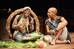© Licensed to London News Pictures. 17/05/2012. London, UK.  Featuring a magnificent score played by an orchestra of marimbas and steel pans together with the world-class voices and extraordinary acting talent of the Ensemble. Picture shows: Noluthando Boqwana (The Tortoise) and Luvo Rasemani (Aesop) in Aesop's Fables. Photo credit : Tony Nandi/LNP