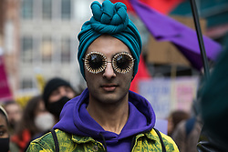 London, UK. 1st May, 2021. A protester wearing a turban and bejewelled glasses attends a Kill The Bill demonstration as part of a National Day of Action to coincide with International Workers Day. Nationwide protests have been organised against the Police, Crime, Sentencing and Courts Bill 2021, which would grant the police a range of new discretionary powers to shut down protests.