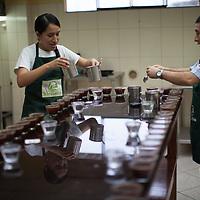 Rodolfo Cruz García and Tanya Juliana Gonzalez García, working on quality control and tasting at NORANDINO de Café, Piura, Peru.