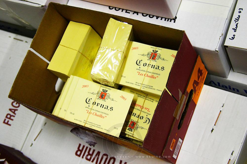 Packs of Labels.  Alain Voge, Cornas, Ardeche, Ardèche, France, Europe