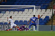 Nathaniel Mendez-Laing of Cardiff city (19) scores his teams 1st goal to equalise at 1-1.  . Carabao Cup, 1st round match, Cardiff city v Portsmouth at the Cardiff city Stadium in Cardiff, South Wales on Tuesday August 8th 2017.<br /> pic by Andrew Orchard, Andrew Orchard sports photography.