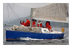 Yachting- The last days racing  of the Bell Lawrie Scottish series 2003 at Tarbert Loch Fyne.  Damp grey skies and light winds decided the final results in most fleets...Class two's winner Bataleur 97 a BH36...Pics Marc Turner / PFM