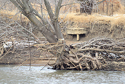 11 February 2017:  Illinois Audubon Society's Plum Island Sanctuary on Illinois River at Starved Rock State Park in Illinois as the water churns below