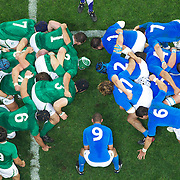 Italian scrum half Fabio Semenzato prepares to feed the scrum during the Ireland V Italy Pool C match during the IRB Rugby World Cup tournament. Otago Stadium, Dunedin, New Zealand, 2nd October 2011. Photo Tim Clayton...