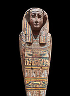Ancient Egyptian wooden sarcophagus - the tomb of Tagiaset, Iuefdi & Harwa circa 25nd Dynasty (7th cent BC.) Thebes. Egyptian Museum, Turin.  black background, <br /> <br /> Possibly the sarcophagus of the daughter of Tagiaset. There is a depiction of a wesekh collar around the neck. .<br /> <br /> If you prefer to buy from our ALAMY PHOTO LIBRARY  Collection visit : https://www.alamy.com/portfolio/paul-williams-funkystock/ancient-egyptian-art-artefacts.html  . Type -   Turin   - into the LOWER SEARCH WITHIN GALLERY box. Refine search by adding background colour, subject etc<br /> <br /> Visit our ANCIENT WORLD PHOTO COLLECTIONS for more photos to download or buy as wall art prints https://funkystock.photoshelter.com/gallery-collection/Ancient-World-Art-Antiquities-Historic-Sites-Pictures-Images-of/C00006u26yqSkDOM