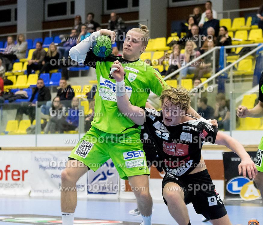 12.11.2016, BSFZ Suedstadt, Maria Enzersdorf, AUT, HLA, SG INSIGNIS Handball WESTWIEN vs Sparkasse Schwaz HANDBALL TIROL, Grunddurchgang, 12. Runde, im Bild Wilhelm Jelinek (WestWien), Michael Nicolaisen (Sparkasse Schwaz HANDBALL TIROL) // during Handball League Austria, 12 th round match between SG INSIGNIS Handball WESTWIEN and Sparkasse Schwaz HANDBALL TIROL at the BSFZ Suedstadt, Maria Enzersdorf, Austria on 2016/11/12, EXPA Pictures © 2016, PhotoCredit: EXPA/ Sebastian Pucher