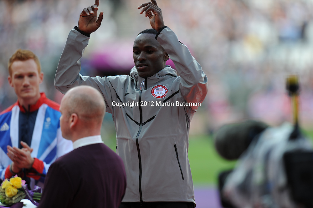 Will Claye acknowledges crowd before receiving his silver medal for the Long Jump, August 5th 2012