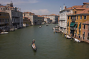 Gondola on Venice's Grand Canal seen from Ponte Accademia.