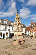 Historic drinking fountain in the town Market Square, Saffron Walden, Essex, England, UK