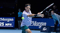 Tennis - 2017 Nitto ATP Finals at The O2 - Day One<br /> <br /> Group Boris Becker Singles: Roger Federer (Switzerland) vs. Jack Sock (USA)<br /> <br /> Roger Federer (Switzerland) stretches to reach the passing shot  at the O2 Arena<br /> <br /> COLORSPORT/DANIEL BEARHAM