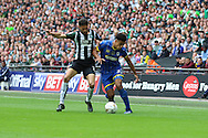Lyle Taylor forward for AFC Wimbledon (33) during the Sky Bet League 2 play off final match between AFC Wimbledon and Plymouth Argyle at Wembley Stadium, London, England on 30 May 2016. Photo by Stuart Butcher.