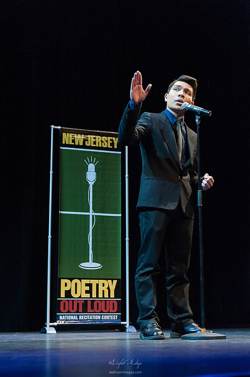 Joseph Murante, a contestant in The  Poetry Out Loud, Regional 5,  competition at SOPAC.