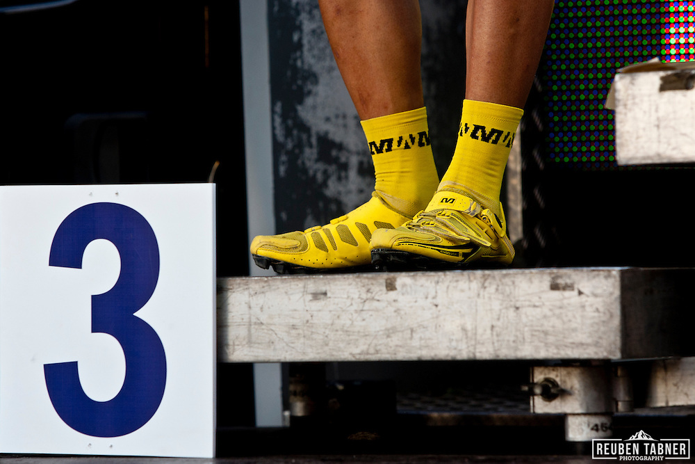 © Reuben Tabner. Pickering, North Yorkshire, UK  20/05/11. Marco Aurelio Fontana's yellow shoes. 2011 UCI Mountain Bike Cross-Country World Cup at Dalby Forest..Please see special instructions for usage rates. Photo credit should read: Reuben Tabner