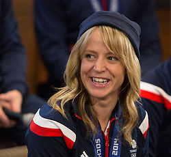 © Licensed to London News Pictures. 25/02/2014. London, UK. Womens snowboard bronze medalist, Jenny Jones talks to the press at the Sofitel Hotel at Heathrow Airport on 24th February 2014. Photo credit : Vickie Flores/LNP