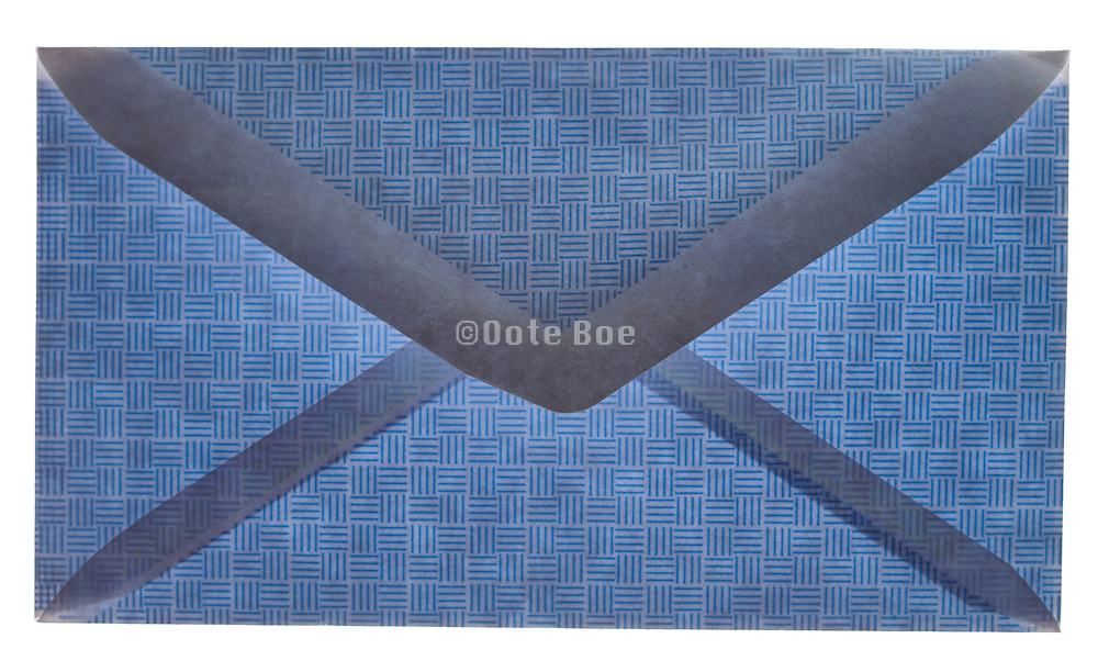 closed blue colored security envelope back view