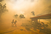 June 20, 2016 - Duarte, California, U.S. - Los Angeles County firefighters work to extinguish flames burning a horse stable off Fish Canyon Rd Monday afternoon as the Fish Fire burned over 1400 acres. ..The Fish Fire burns above Duarte and Los Angeles County. The Reservoir Fire also started nearby during record heat in the Southwest. The fire was 1,400 acres at 2:50pm<br /> ©Exclusivepix Media