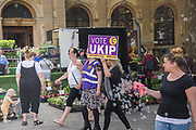 UKIP party campaigning in Peterborough before the byelection caused by the jailing of the local MP for a lying about a speeding offense.  1 June 2019