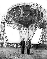 File photo dated 26/06/1957 of Professor Bernard Lovell (right) with Mr HC Husband, the consulting engineer who designed and constructed the Lovell Radio Telescope at the Jodrell Bank observatory in Cheshire. Buildings and structures at Jodrell Bank that played a pioneering role in the early days of radio astronomy have been given heritage protection.