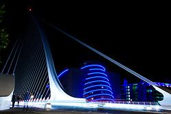 Samuel Beckett Bridge, Rotatable road bridge, Sir John Rogerson's Quay, Dublin, Ireland. The Convention Centre Dublin.