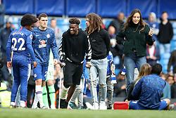 Chelsea's Callum Hudson-Odoi in Chelsea's Lap of Appreciation during the Premier League match at Stamford Bridge, London.