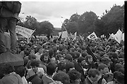 H-Block Protest To British Embassy.  (N86)..1981..18.07.1981..07.18.1981..18th July 1981..A protest march to demonstrate against the H-Blocks in Northern Ireland was held today in Dublin. After the death of several hunger strikers in the H-Blocks feelings were running very high. The protest march was to proceed to the British Embassy in Ballsbridge...As the march is blocked by the Gardaí congestion starts to build up behind the barriers..