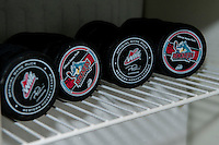 KELOWNA, CANADA - FEBRUARY 10: Game pucks sit in the fridge of the penalty box on February 10, 2017 at Prospera Place in Kelowna, British Columbia, Canada.  (Photo by Marissa Baecker/Shoot the Breeze)  *** Local Caption ***