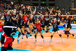 07-10-2018 JPN: World Championship Volleyball Women day 8, Nagoya<br /> Germany - Brazil 3-2 / Sensation at the World Championship. Germany defeats Brazil with 3-2 - Germany celebrate