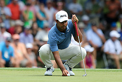 August 9, 2018 - St. Louis, Missouri, United States - Shubhankar Sharma lines up a putt on the 6th green during the first round of the 100th PGA Championship at Bellerive Country Club. (Credit Image: © Debby Wong via ZUMA Wire)