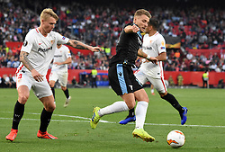 February 20, 2019 - Seville, Spain - Soccer players Ciro Immobile and Kjaer during the Europa League round of 32 second leg soccer match between Sevilla and Lazio at the Sanchez Pizjuan stadium, in Seville, Spain, on February 20, 2019. (Credit Image: © Gtres/NurPhoto via ZUMA Press)