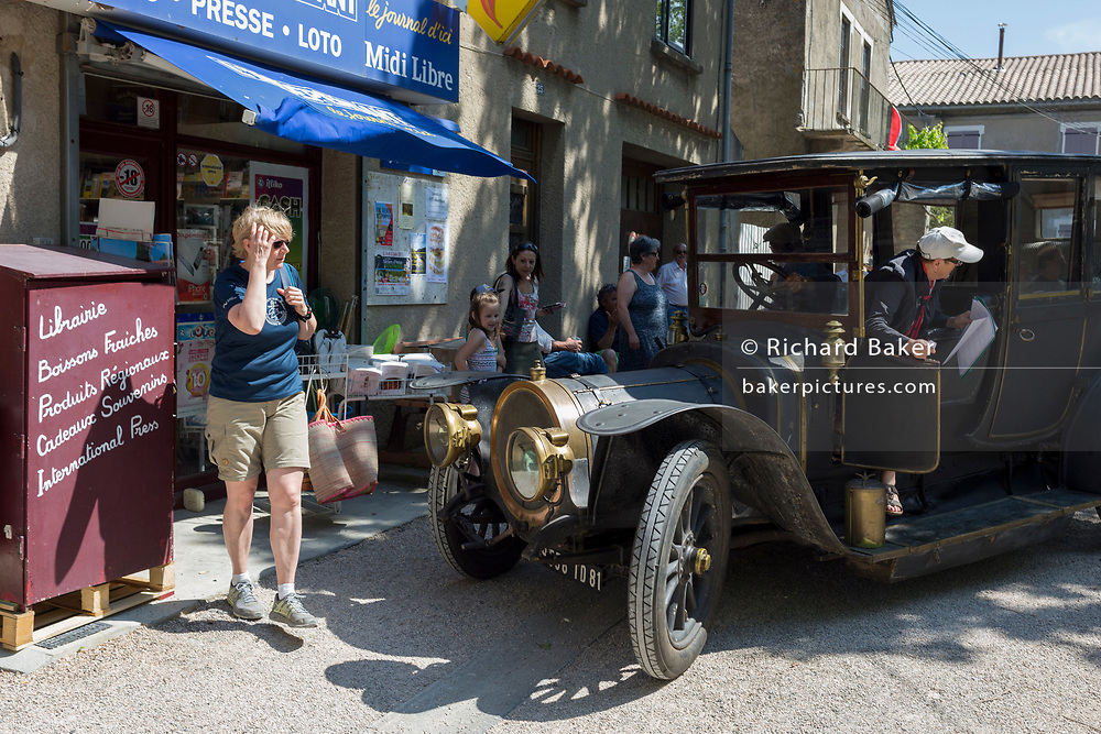 A visiting 1912 Delauney Belleville vintage car visits a French village, during a three-day rally journey through the Corbieres wine region, on 26th May, 2017, in Lagrasse, Languedoc-Rousillon, south of France. Lagrasse is listed as one of France's most beautiful villages and lies on the famous Route 20 wine route in the Basses-Corbieres region dating to the 13th century.