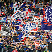 PARIS, FRANCE - September 10:  French supporters during the singing of the national anthem before the France V Andorra, UEFA European Championship 2020 Qualifying match at Stade de France on September 10th 2019 in Paris, France (Photo by Tim Clayton/Corbis via Getty Images)