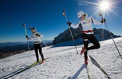 Mirjam Cossettini and Alenka Cebasek during Training camp of Slovenian Cross country Ski team on October 23, 2012 in Dachstein Getscher, Austria. (Photo By Vid Ponikvar / Sportida)