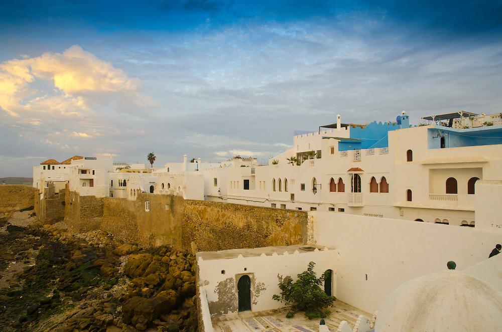 Asilah's ramparts at dusk, Atlantic coast, Morocco