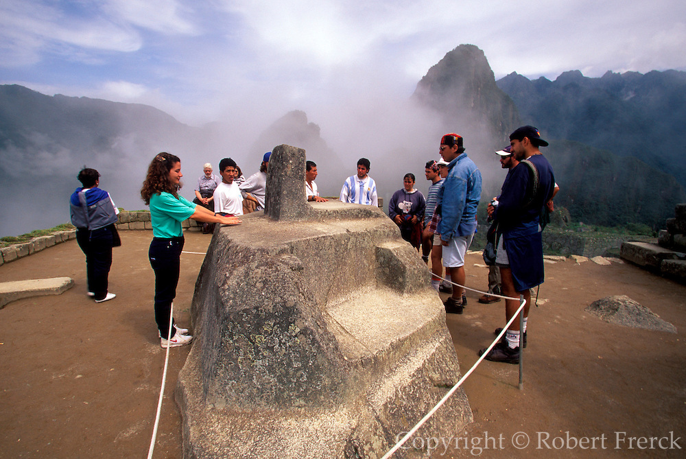 PERU, HIGHLANDS, PREHISPANIC, INCA Machu Picchu; the Intihuatana, site's most sacred shrine and was used to tell the time of year