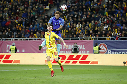 (L-R) Sergiu Hanca of Romania, Memphis Depay of Holland during the friendly match between Romania and The Netherlands on November 14, 2017 at Arena National in Bucharest, Romania