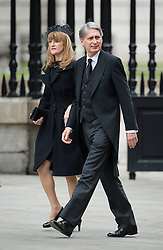 © London News Pictures.17/04/2013. London, UK.  British defence secretary Philip Hammond arriving at St Paul's Cathedral in London for The Funeral of former British Prime Minister, Margaret Thatcher on April 17, 2013. Photo credit : Ben Cawthra/LNP