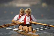 Bled, Slovenia, YUGOSLAVIA.  DEN LM2X, Bow. Regitze SIGGAARD. Ulla ANDERSEN. 1989 World Rowing Championships, Lake Bled. [Mandatory Credit. Peter Spurrier/Intersport Images]