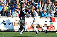 Fotball NM Cup 1.runde Orkla-Rosenborg<br /> 24 april 2014<br /> <br /> Orkdalsbanken Stadion, Fannrem<br /> <br /> <br /> John Chibuike, Rosenborg (V) og Gøran Aakerholm, Orkla, i duell<br /> <br /> <br /> <br /> Foto : Arve Johnsen, Digitalsport