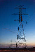 High voltage transmission wires at sunset