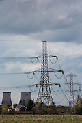 400 kV overhead electricity power lines suspended by pylons are used to transmit electric energy across large distances from Didcot Power staion across Oxfordshire, United Kingdom.  (photo by Andrew Aitchison / In pictures via Getty Images)