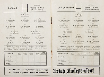 GAA All Ireland Hurling Finals up to 1970,.Brochures, Championship Final,.23.09.1956, 09.23.1956, 23rd September 1956,.Minor Kilkenny v Tipperary, .Senior Cork v Wexford,..Cork, M. Cashman, J. Brohan, J. Lyons, A. O'Shaughnessy (Capt.), M. Fouhy, W. J. Daly, P. Philpott, E. Goulding, P. Dowling, M. O'Regan, J. Hartnett, P. Barry, C. O'Shea, T. Kelly, C. Ring, Subs, G. Murphy, J. Daly, P. Healy, V. Twomey, W. Walsh,..Wexford, A. Foley, R. Rackard, N. O'Donnell, M Morrisson,  J English, W. Rackard, J. Morrissey, S Hearne, E Wheeler, P Kehoe, M Codd, T Flood, T Ryan, N Rackard, T Dixon, M O'Hanlon, P Kehoe, T Bolger, T Morrissey, P Nolan,..Advertisement, Irish Independent,