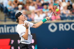 August 9, 2018 - Toronto, ON, U.S. - TORONTO, ON - AUGUST 09: Denis Shapovalov (CAN) returns the ball during his third round match of the Rogers Cup tennis tournament on August 9, 2018, at Aviva Centre in Toronto, ON, Canada. (Photograph by Julian Avram/Icon Sportswire) (Credit Image: © Julian Avram/Icon SMI via ZUMA Press)
