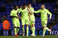 Brighton central defender, Connor Goldson (17) scores to make it 1-1 and celebrates during the Sky Bet Championship match between Birmingham City and Brighton and Hove Albion at St Andrews, Birmingham, England on 5 April 2016.