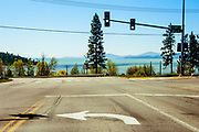 View looking south at Flathead Lake from traffic light