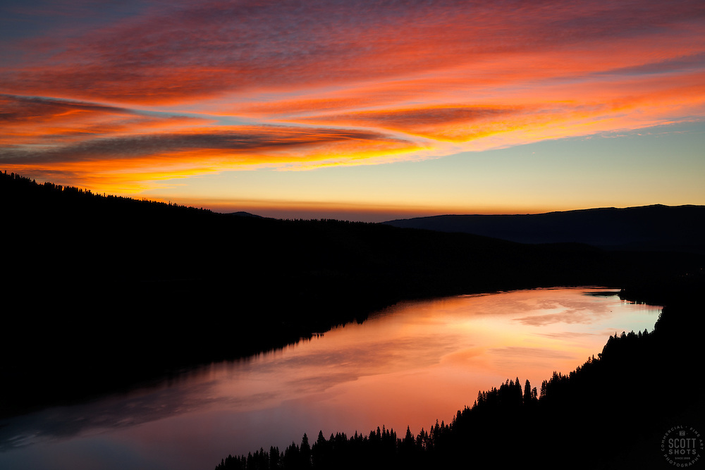 """""""Donner Lake Sunrise 12"""" - Photograph of Donner Lake at sunrise, looking toward the town of Truckee, California from the old train tunnel area."""