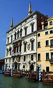 The Palazzo Belloni Battagia, a baroque-style palace in the Santa Croce quarter on the Grand Canal in Venice, Italy. Built in the mid-17th century, designed by Baldassarre Longhena. Originally home to the Belloni Family.