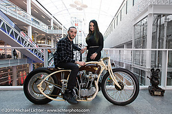 Romanian custom bike  builder Racz Dorin with his 1100 cc 1973 Harley-Davidson Ironhead Rise of Anarchy in the at the Swiss-Moto Customizing and Tuning Show where they took first place in the American Custom class. Zurich, Switzerland. Sunday, February 24, 2019. Photography ©2019 Michael Lichter.