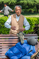 Shanghai, China - April 7, 2013: one man exercising meditation in fuxing park at the city of Shanghai in China on april 7th, 2013