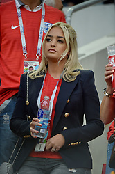 Megan Davison attends the 1/8 Final Game between Colombia and England at the 2018 FIFA World Cup in Moscow, Russia on July 3rd, 2018. Photo by Lionel Hahn/ABACAPRESS.COM