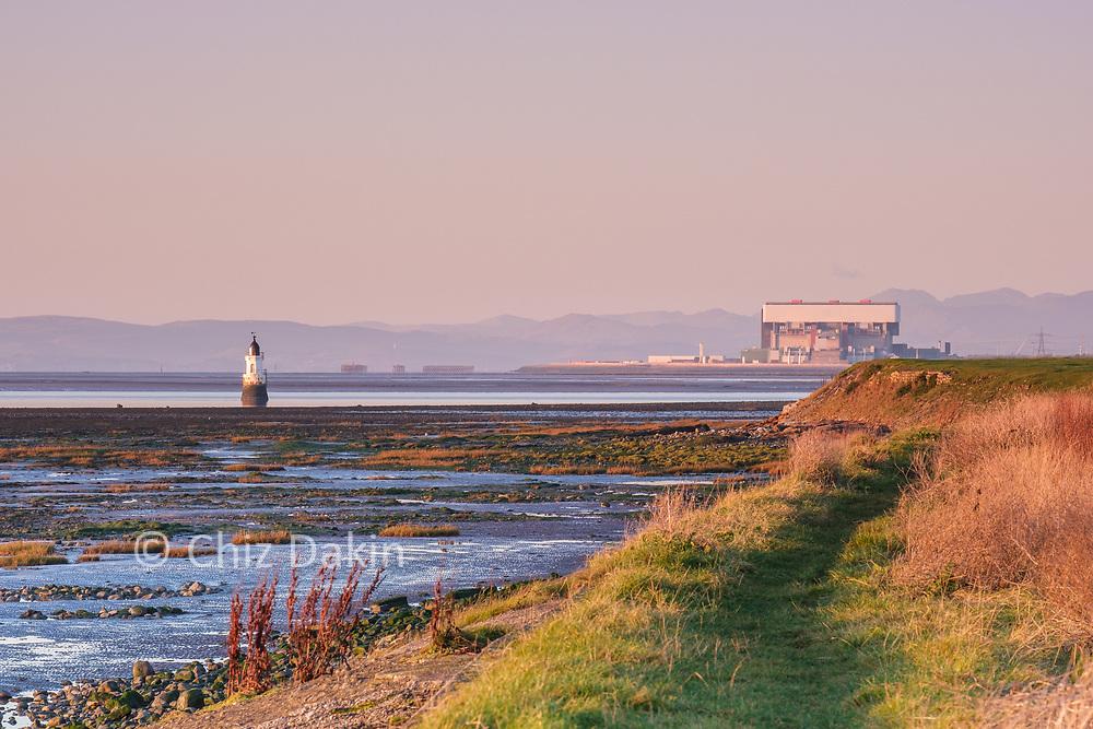 Plover Scar Lighthouse and Heysham Nuclear Power Plant, Cockerham Sands